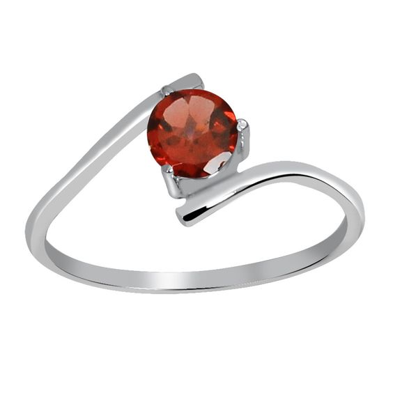 Orchid Jewelry 925 Sterling Silver 2/3 Carat Garnet Ring (925 Silver-Ring Size-8), Women's, Size: 8, Red