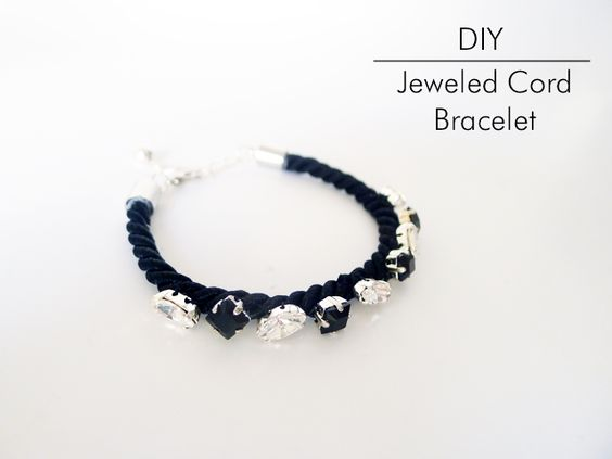 DIY Jeweled Cord Bracelet