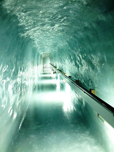 """Inside the Ice Palace at """"The Top of Europe"""" Switzerland."""