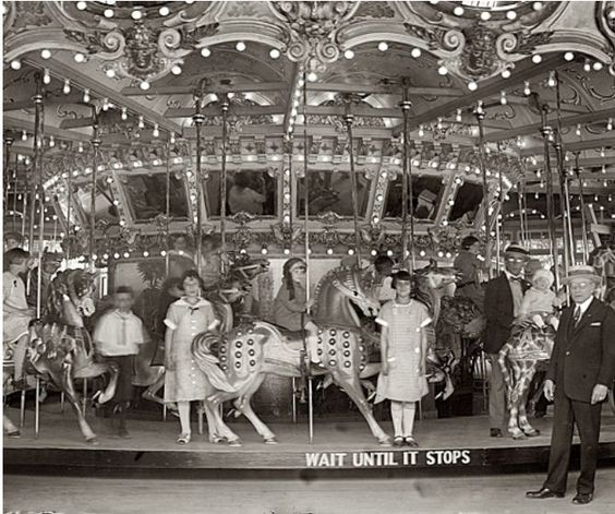 Dentzel Carousel at the Glen Echo amusement park in Montgomery County, Maryland, 1925.