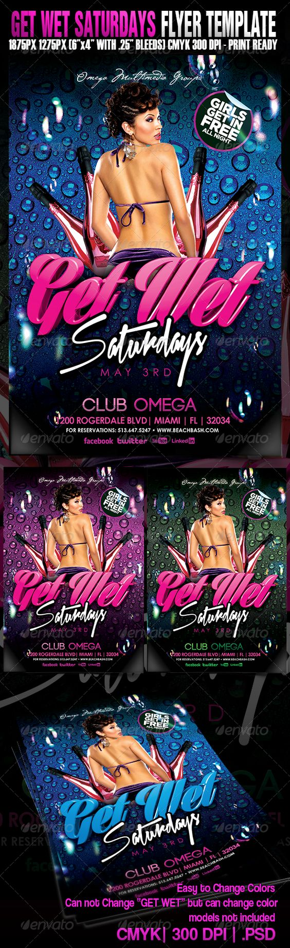 "Get Wet Saturdays  #GraphicRiver        The PSD file is setup at 1275px x 1875px (4×6"" with .25"" bleeds) CMYK 300DPI. The PSD file is very well organized, with color coded groups and layers named appropriately.The main folders that will require most customization are highlighted in different colors. The fonts used in the design are:  .myfonts /fonts/p22/cezanne Standard Century Gothic Xtreem Fat Demo can be downloaded online for free     Created: 13April13 GraphicsFilesIncluded: PhotoshopPSD…"