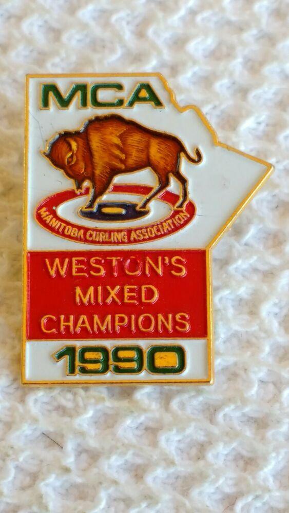 Westons Mixed Champions Mca 1990 Manitoba Hat Lapel Curling Pin V 2020 G