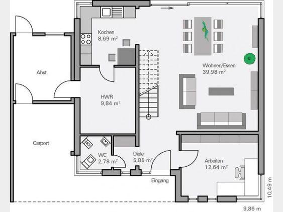 Grundriss EG Massivhaus Dietz modern im Bauhausstil mit Pultdach und [R