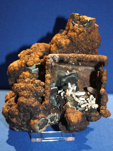 """""""A historic specimen dating from the late 1800's that was found in the Virtuous Lady Mine in Devon, England. This was on loan from the Royal Scottish Museum.These specimens were found in a single occurrence and less than20 good specimens are known. The Siderite forms an epimorphous cast after a Fluorite crystal and the underlying Quartz andChalcopyrite crystals display proudly in the hollow cast."""""""