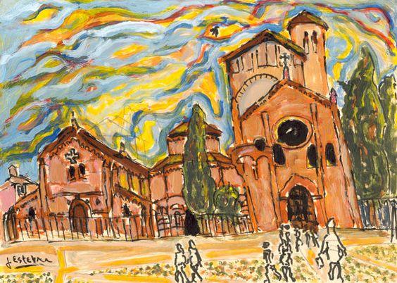 Basilica di Santo Stefano Bologna 8 in. x 10 by jestebangallery