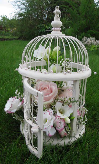 cage à oiseau déco fleurs