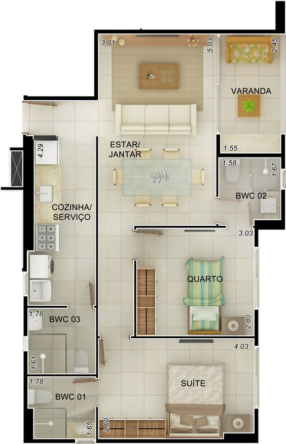 Projeto apartamento 90m2 pesquisa google plantas for Apartment design 90m2