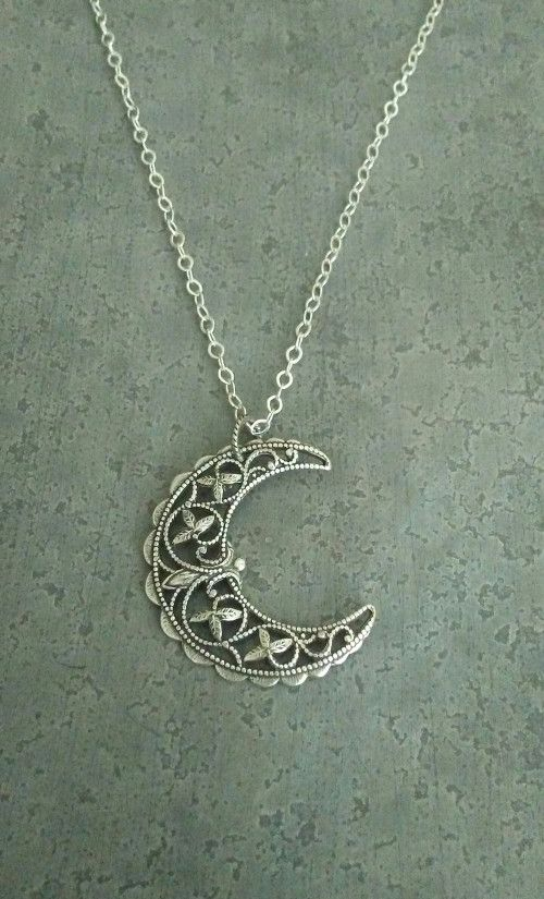Crescent Moon Necklace Shimmering Crackled Glass Pendant Necklace Unique Gift For Her Mystical Stevie Nicks Style Jewelry Gypsy Boho