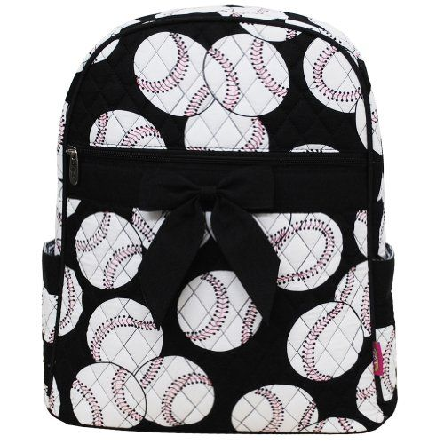 Baseball Print Quilted Backpack Black *** You can find more details by visiting the image link.