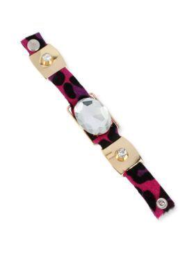 Betsey Johnson  Crystal Leopard Snap Bracelet