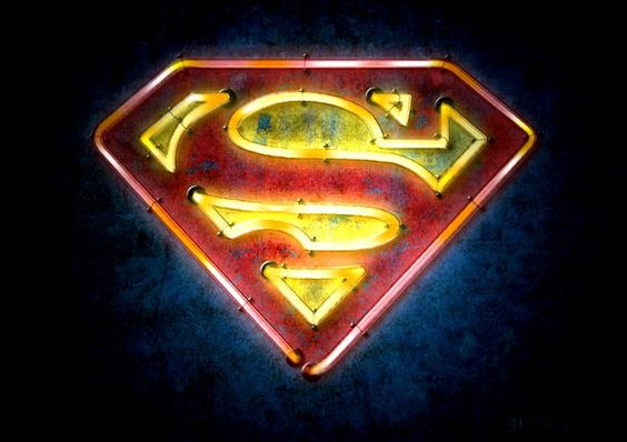 Superhero Neon Wall Lights : Superhero Logos Given the Neon Light Treatment Superman, Batman ... Sign of the times ...
