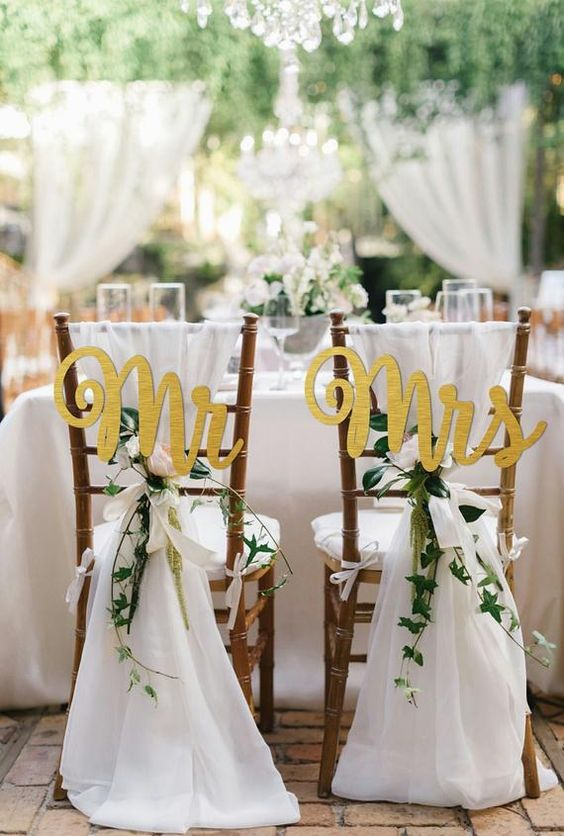 Gold and Ivory wedding chair décor