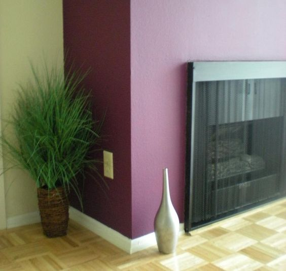 Love How The Fireplace Is Highlighted With Eggplant Color