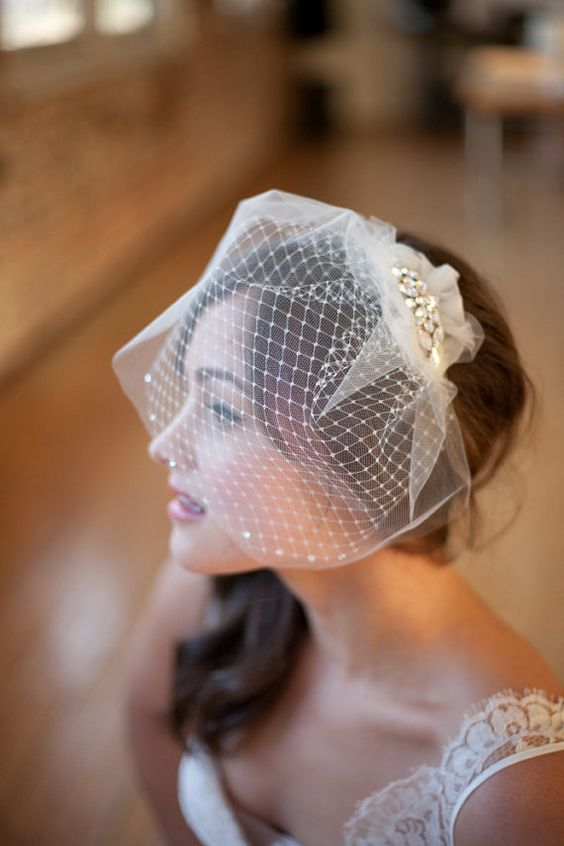 Double Birdcage Veil Bridal Veil Wedge Veil Gabrielle by Serephine. @Jess Pearl Liu P ... What do you think of this?