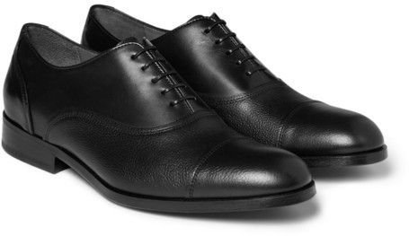 $625, Black Leather Oxford Shoes: Lanvin Leather Oxford Shoes. Sold by MR PORTER. Click for more info: https://lookastic.com/men/shop_items/200475/redirect