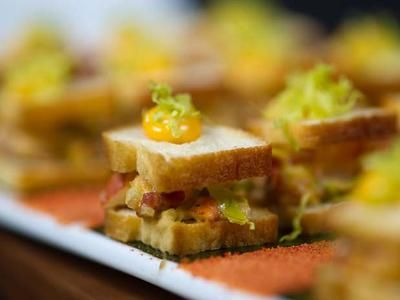From Food Network 'Wedding Food Takes Centre Stage' June 21, 2012. A really interesting article about how to incorporate different food 'activities' and styles into your wedding. These mini lobster blts look fantastic.