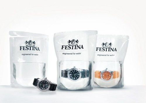 Swiss water-proof watches are sold in a bag of water.