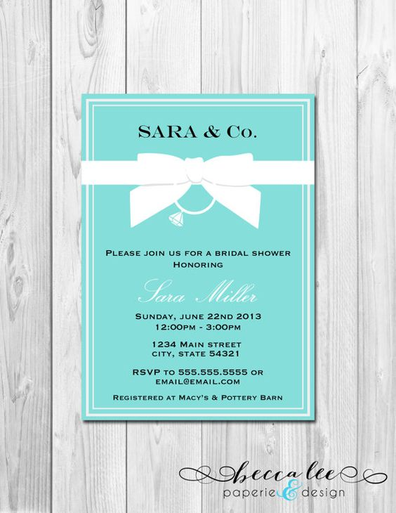 Bridal Shower Invitation - Tiffany & Co. Inspired - DIY - Printable on Etsy, $13.00