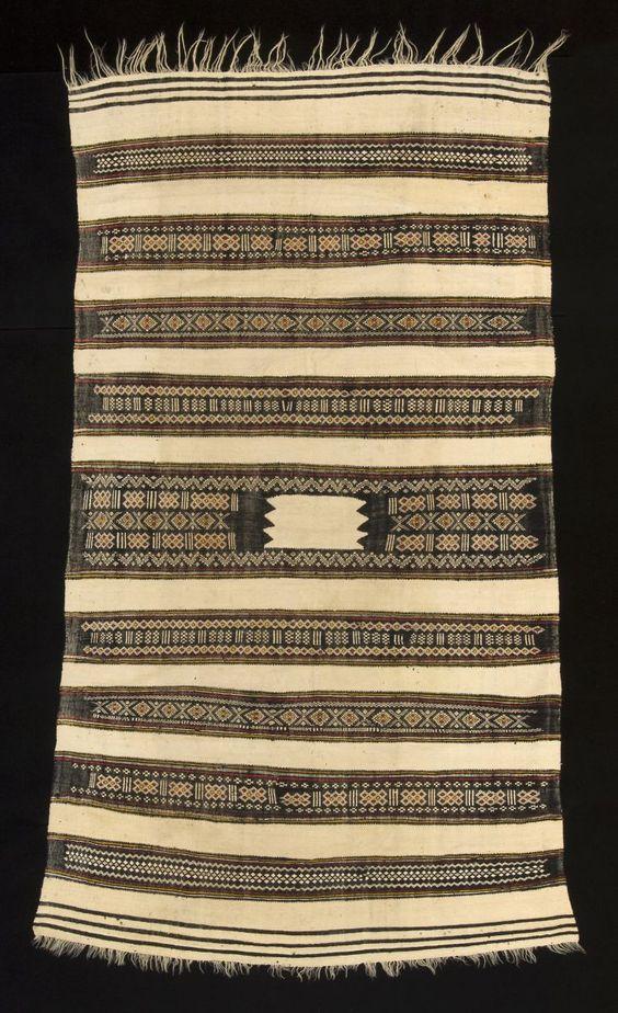 Ait Hichem Women's Mantle  Kabylie region, Algeria  Wool and cotton, natural dyes    Size: 86 x 49 inches (218 x 125cm)