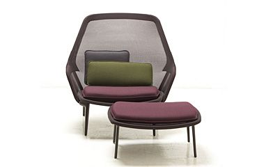 """Vitra Slow Chair designed by Ronan and Erwan Bouroullec. My favorite chair, suits our living room perfectly. Knit sling cover gives a """"see through"""" effect."""