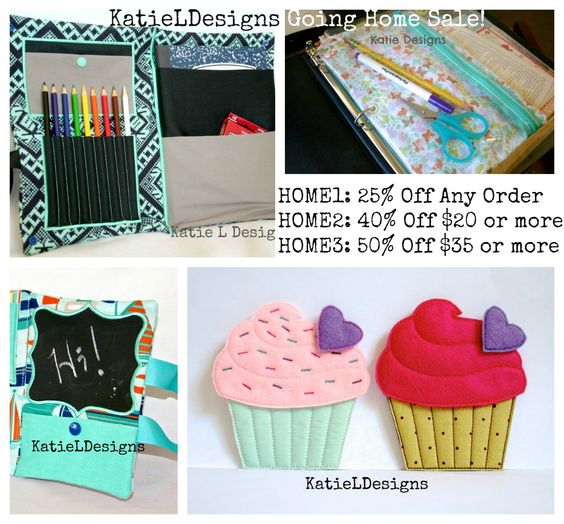 Going Home Sale at KatieLDesigns! Modern and fun machine embroidery designs! Use coupon codes: HOME1: 25% off any order HOME2: 40% off any $20 order HOME3: 50% off any $35 order  Now through August 3rd. https://www.etsy.com/shop/KatieLDesigns