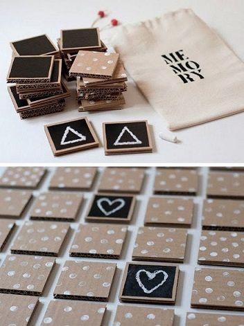 jogo da memória de papelão:
