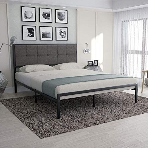 Best Seller Urest Queen Bed Frame Upholstered Button Tufted Square Stitch Headboard Mattress Foundation Platform Bed Easy Assembly No Box Spring Needed Strong In