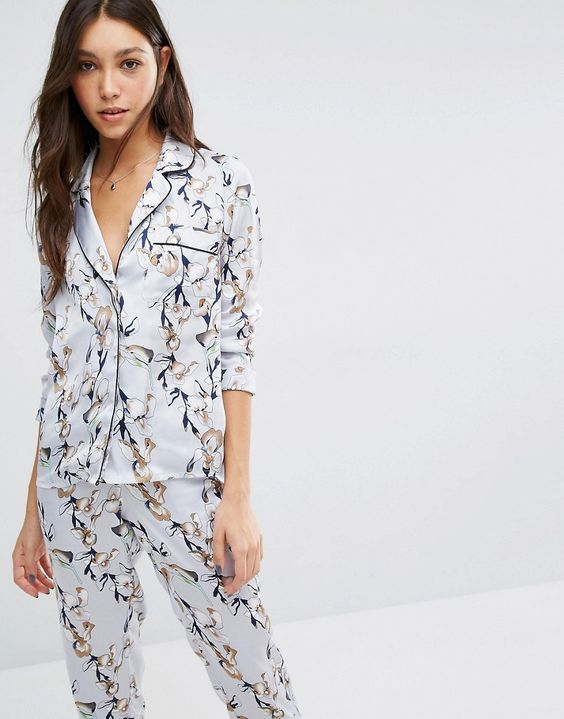 Vero Moda Floral Satin Pyjama Blouse Set: