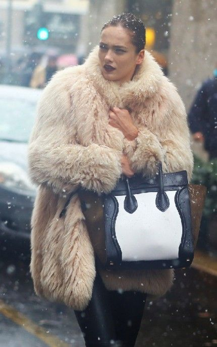 Karmen Pedaru at Milan Fashion Week Street Style 2013. Fur style winter snow