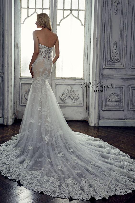 Calla Blanche Wedding Dress Gown Marilyn Ivory Trumpet