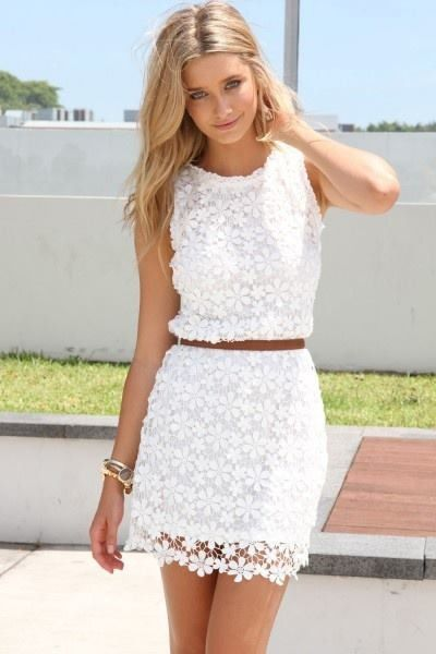A classy any day go to outfit . White lace summer dress with brown ...