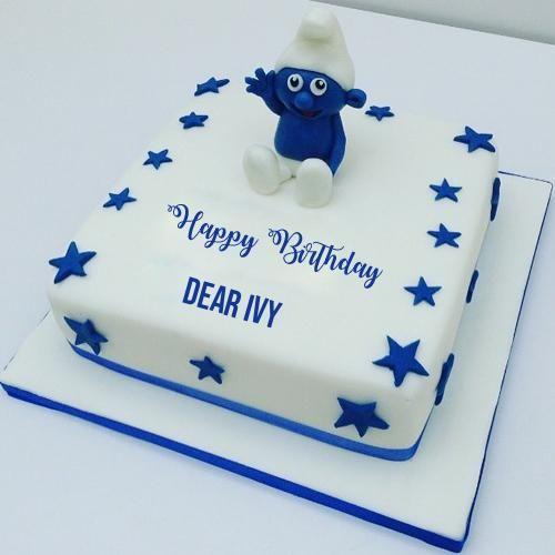 Write Name On Cute Smurfs Cake For Kids Birthday Wishes Birthday