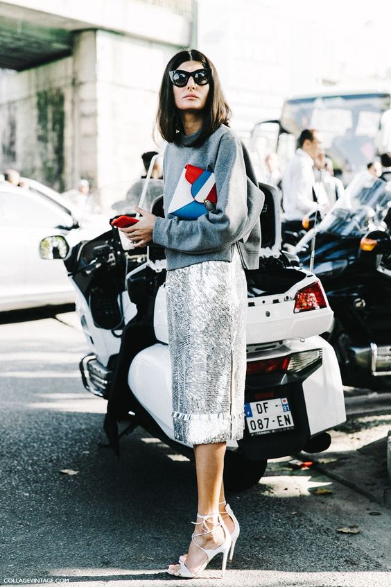 Giovanna PFW Paris Fashion Week Spring Summer 2016 Street Style  Giovanna Battaglia Pencil Skirt Metallics: