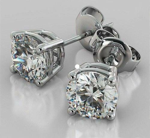 2.00 CT 6mm Round Brilliant Moissanite 14K White Gold Screw Back Stud Earrings