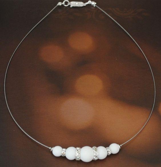 Brautschmuck - Collier Kathleen mit Polaris Perlen und Strass - ein Designerstück von mias-dekostube bei DaWanda