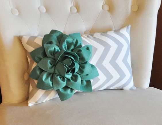 Chevron Lumbar Pillow with Teal Dahlia Flower on Gray and White Zig Zag Lumbar Pillow 9 x 16 -NEW FLOWER COLOR-. $33.00, via Etsy.