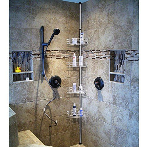 Chrome 4 Basket Bathroom Shower Corner Shelf Triangle Wall Shower Caddy Space Shampoo Soap With Images Shower Shelves Bathroom Basket Storage Bathroom Storage Organization