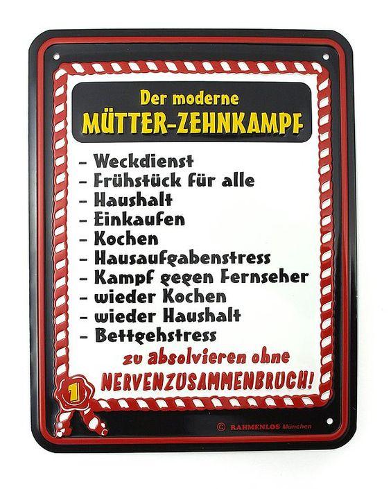 Funschild -Der moderne Mütter-Zehnkampf- - Online Geschenkeshop mit Schraubenmännchen mit Widmung und mehr