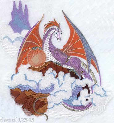 CLOUD DRAGON - LGE PATTERN - 1 EMBROIDERED WHITE BATH TOWEL by Susan