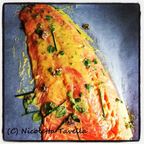 Oven baked salmon with honey and mustard, click on the pic to go to the recipe