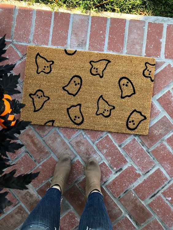 Halloween Doormat / Welcome Mat / Ghost / Thanksgiving Doormat | Etsy
