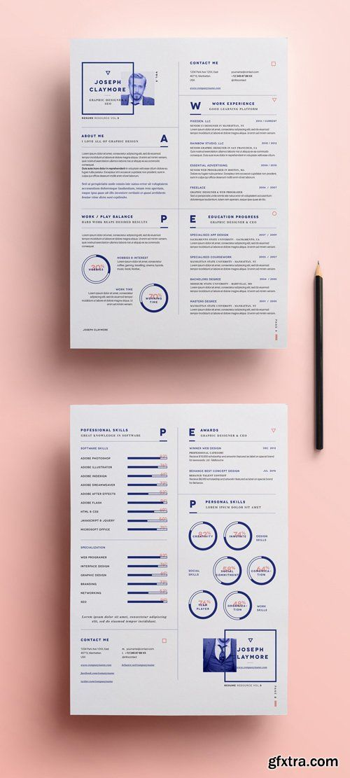 Graphic Resume Templates Resume & Cover Letter Template Docxbotanica Paperie On