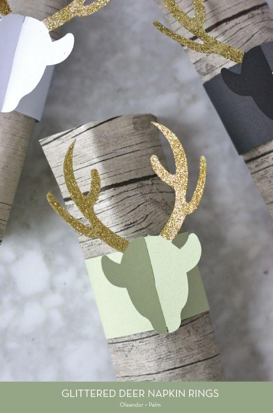 20 HOLIDAY DIYS – Glittered Deer Napkin Rings