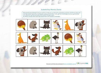 009 Australian animal memory game Printable activities