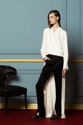 H7T103 NIKOLAI- VISCOSE CANVAS DRAPED BLOUSE WITH LONG SHIRTTAIL   H7P031 YURI- STRETCH SATIN TUXEDO PANTS WITH FRONT SLIT DETAIL