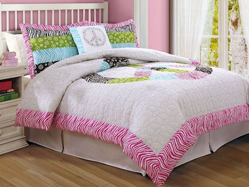 charming teen girl bedroom sets | Peace Sign Zebra Stripe Print Teen Girl Bedding Twin Full ...