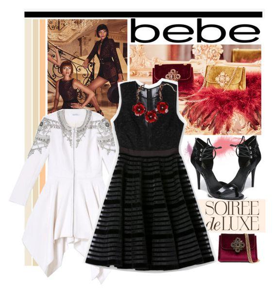 """""""Soirée de Luxe with bebe Holiday: Contest Entry"""" by piedraandjesus on Polyvore featuring moda y Bebe"""