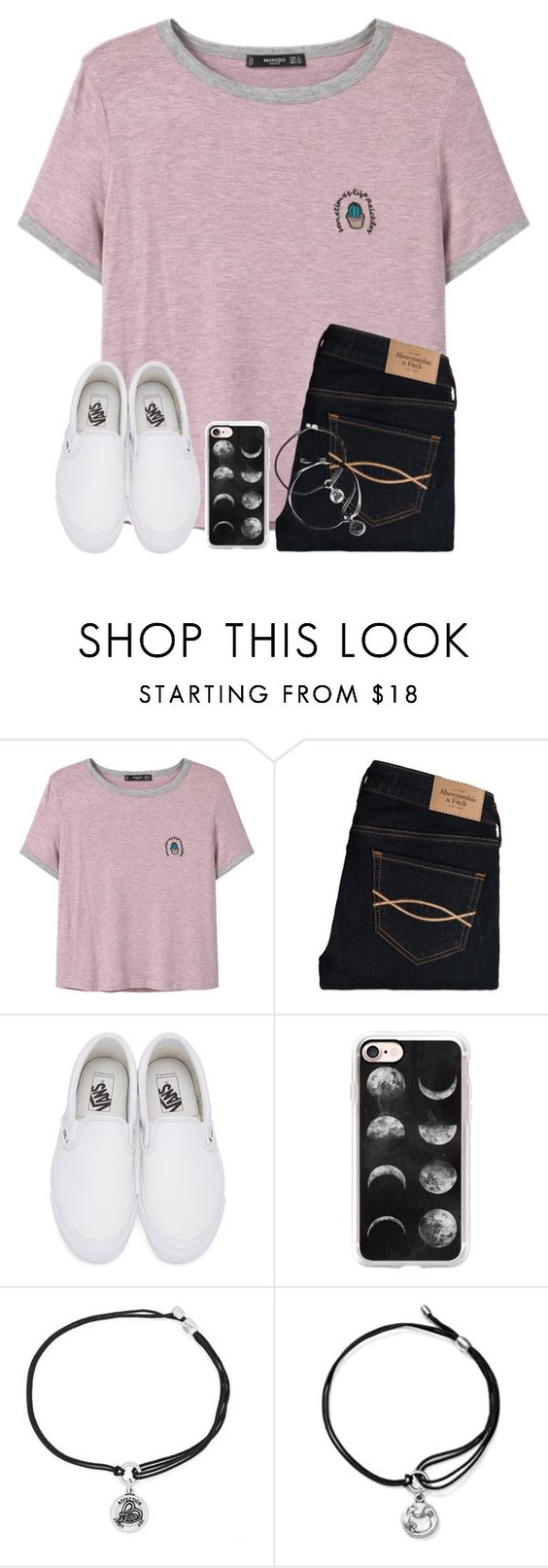 """""""One Of My Plain Tee+Jeans+Converse Sets Has 6,000+ Views😂😂"""" by twaayy ❤ liked on Polyvore featuring MANGO, Abercrombie & Fitch, Vans, Casetify and Alex and Ani"""