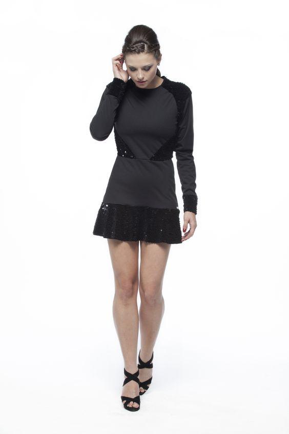 Vestido - Veludo de Malha Paetê Velvet e Malha Newprene Texture #VELUDOS #paetes #neoprene #FocusTextil