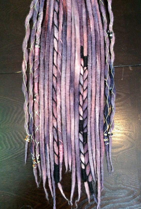 """10 Double Ended Wool Dreadlock Extensions// """"Crushed Berries"""" Accent Set // Hand dyed // Hemp Wrapped"""